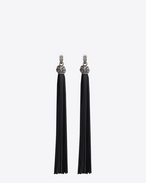 SAINT LAURENT Earrings D LOULOU earrings with black leather tassels in tin and silver-toned brass f