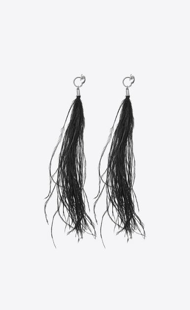 SAINT LAURENT Earrings Woman LOULOU earrings with black ostrich feather tassels b_V4