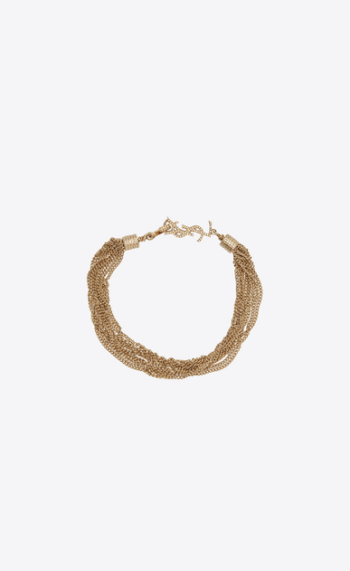 SAINT LAURENT Bracelets Woman LOULOU necklace with twisted chains in light gold-toned brass a_V4