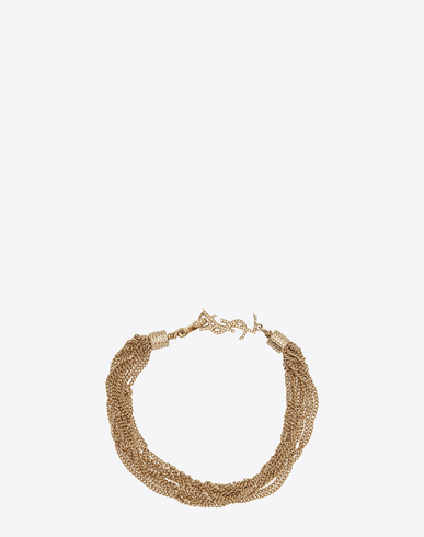 LOULOU NECKLACE WITH TWISTED CHAINS IN LIGHT GOLD-TONED BRASS