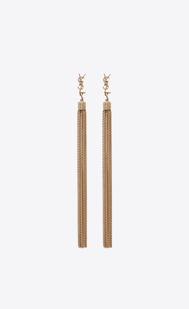 SAINT LAURENT Earrings Woman LOULOU earrings with chain tassels in light gold-colored brass a_V4