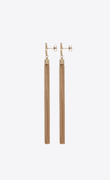 SAINT LAURENT Earrings Woman LOULOU earrings with chain tassels in light gold-colored brass b_V4