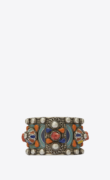 SAINT LAURENT Bracelets Woman MARRAKECH cuff bracelet in tin, brass, coral and yellow enamel a_V4
