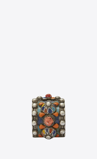 SAINT LAURENT Bracelets Woman MARRAKECH cuff bracelet in tin, brass, coral and yellow enamel b_V4