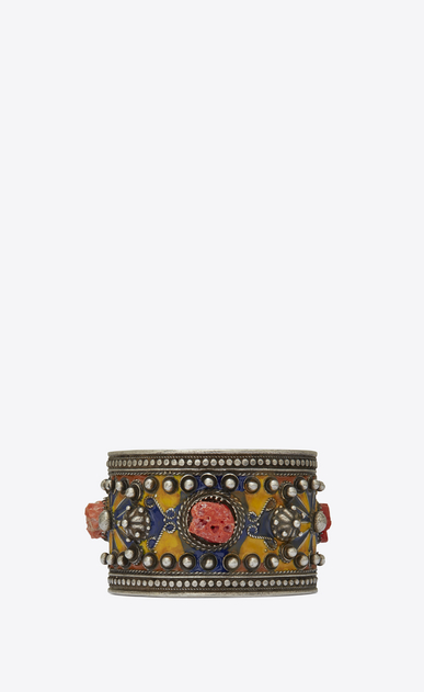 SAINT LAURENT Bracelets Woman MARRAKECH cuff bracelet in tin, brass, coral and blue enamel a_V4