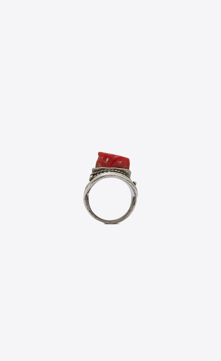 Marrakech Ring With Corail Cabochon In Silver Tin
