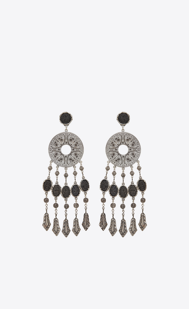 SAINT LAURENT Earrings Woman MARRAKECH disc earrings in tin and silver-colored brass a_V4