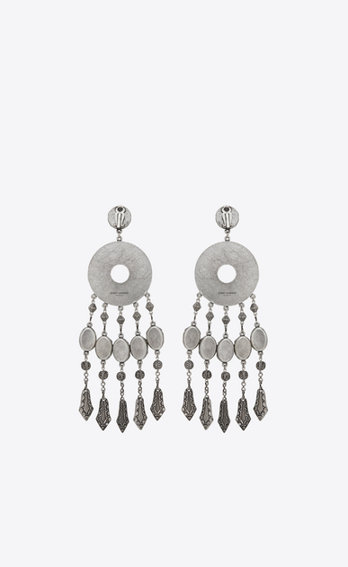 SAINT LAURENT Earrings Woman MARRAKECH disc earrings in tin and silver-colored brass b_V4