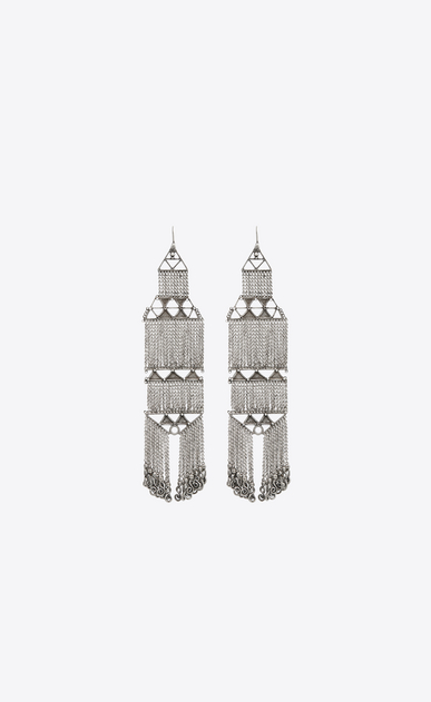 SAINT LAURENT Earrings Woman MARRAKECH chain earrings in tin and silver-toned brass a_V4