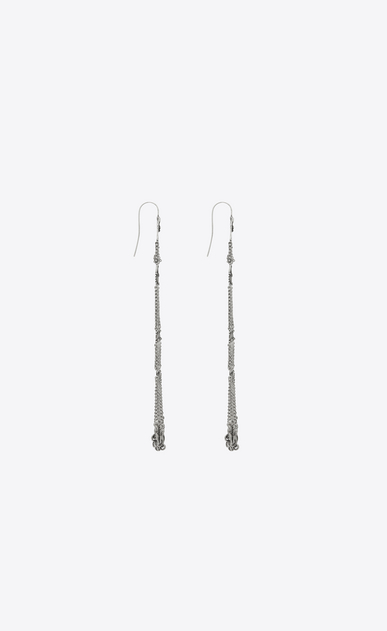 SAINT LAURENT Earrings Woman MARRAKECH chain earrings in tin and silver-toned brass b_V4