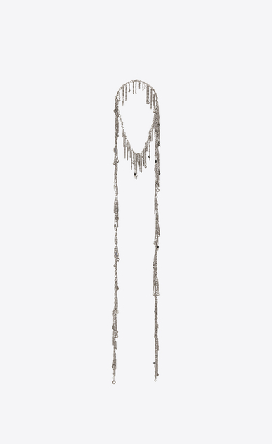 SAINT LAURENT Long necklace D MARRAKECH tie necklace in tin and silver-toned brass a_V4
