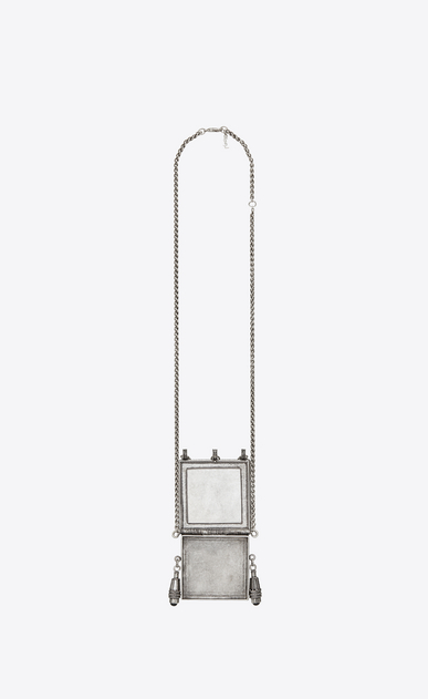 SAINT LAURENT Long necklace D MARRAKECH box necklace in silver-colored brass and black leather b_V4