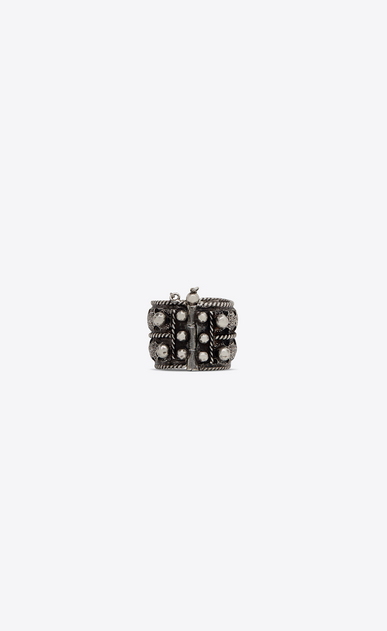 SAINT LAURENT Rings Woman MARRAKECH Berber ring in tin and silver-toned brass a_V4