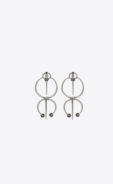 SAINT LAURENT Orecchini D TRIBAL earrings in silver-toned brass and blue enamel b_V4