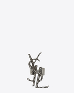 SAINT LAURENT Rings D YSL OPYUM destructured crocodile ring in silver-toned brass f