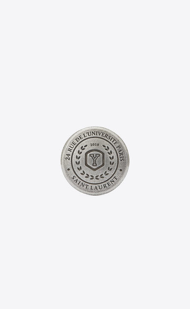 SAINT LAURENT Pin's D LOVE PINS university badge in silver-toned tin. a_V4