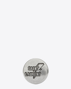 SAINT LAURENT Pin's D LOVE PINS lightning badge in silver-toned tin. f