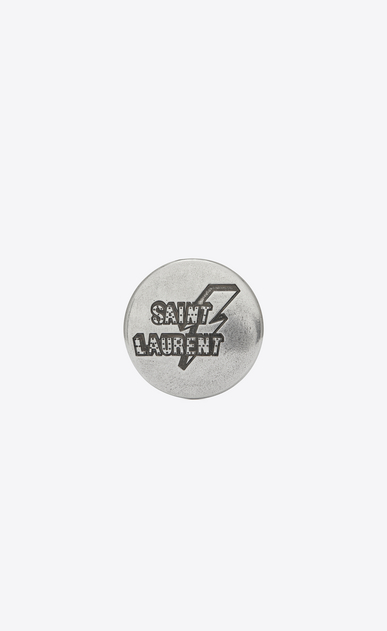 SAINT LAURENT Pin's Woman LOVE PINS lightning badge in silver-toned tin. a_V4