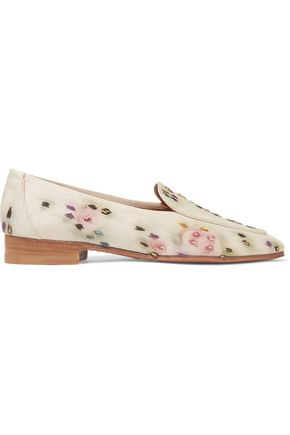 THE ROW Adam embroidered raffia loafers