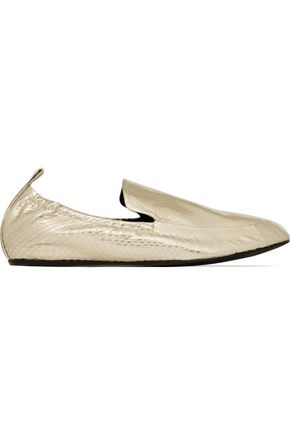LANVIN Metallic watersnake loafers