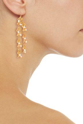 KENNETH JAY LANE Gold-plated faux pearl earrings