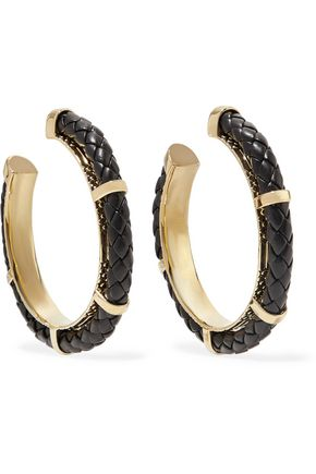 NOIR JEWELRY Serpentine gold-tone and leather earrings