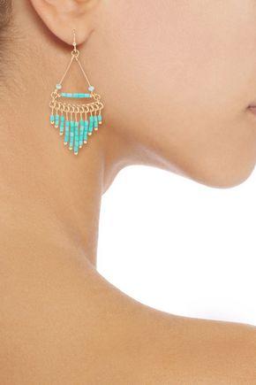 KENNETH JAY LANE Gold-plated beaded earrings