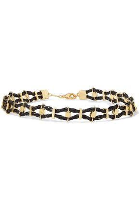 NOIR JEWELRY Viper gold-tone and leather choker