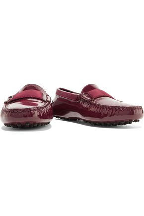 TOD'S Grosgrain-trimmed glossed-leather loafers