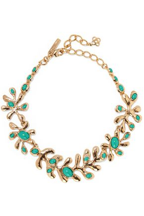 OSCAR DE LA RENTA Sea Tangle gold-plated resin necklace