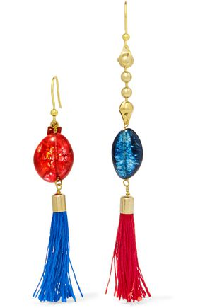 ROSANTICA Gold-tone stone and tassel earrings