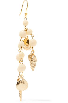 ROSANTICA Hammered gold-tone beaded earrings
