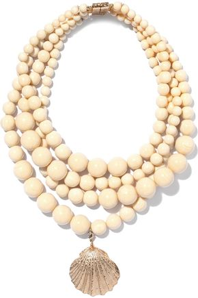 ROSANTICA Hammered gold-tone beaded necklace
