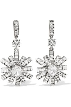 OSCAR DE LA RENTA Silver-tone crystal clip earrings