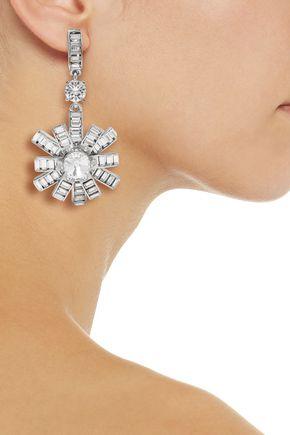 OSCAR DE LA RENTA Silver-tone crystal clip earrings