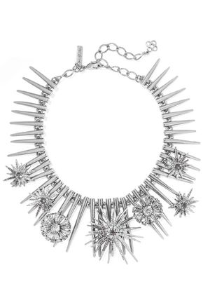 OSCAR DE LA RENTA Celestial silver-tone crystal choker