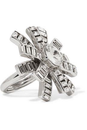 OSCAR DE LA RENTA Silver-tone crystal ring