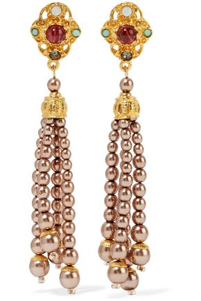 BEN-AMUN Gold-tone faux pearl, bead, crystal and stone earrings