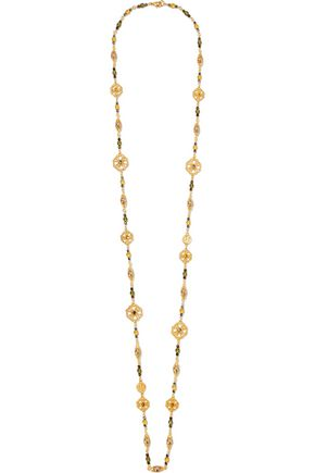 BEN-AMUN Gold-tone bead, stone and faux pearl necklace
