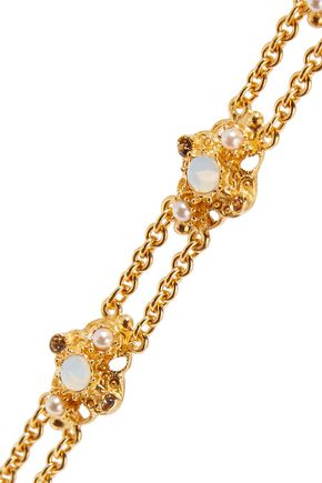 BEN-AMUN Gold-tone faux pearl, stone and crystal bracelet