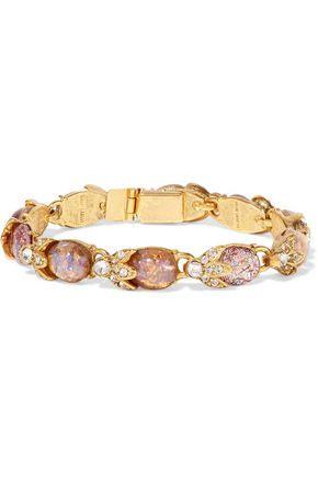 BEN-AMUN Gold-tone, crystal and stone bracelet