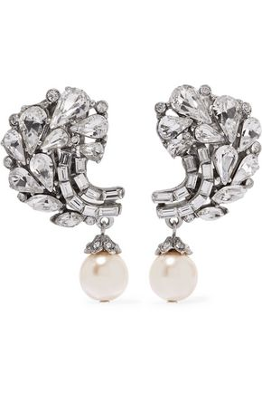 BEN-AMUN Silver-tone, crystal and faux pearl clip earrings