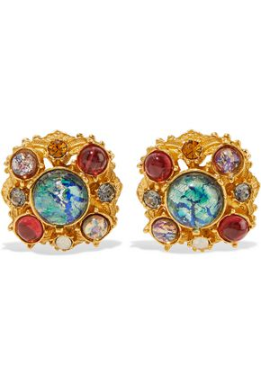 BEN-AMUN Gold-tone, crystal and stone clip earrings