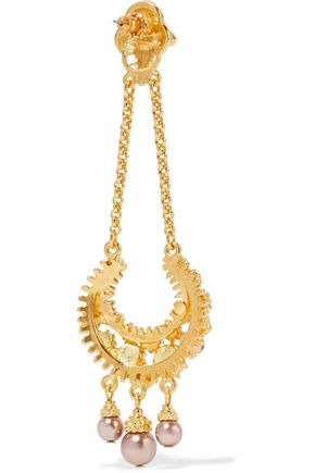 BEN-AMUN Gold-tone, crystal, stone and faux pearl earrings