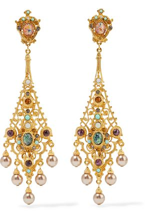 BEN-AMUN Gold-tone multi-stone clip earrings