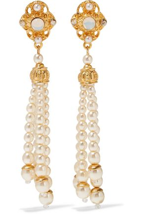 BEN-AMUN Gold-tone faux pearl, stone and crystal earrings