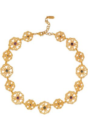 BEN-AMUN Gold-tone crystal and bead necklace