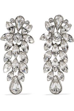 BEN-AMUN Silver-tone crystal clip earrings