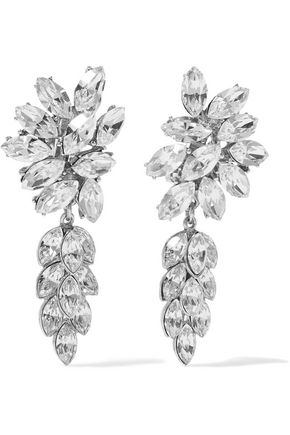 BEN-AMUN Silver-tone crystal clip earrings