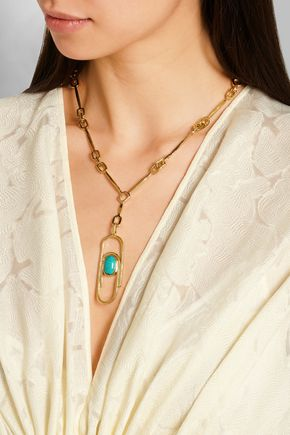 AURÉLIE BIDERMANN Angelica gold-plated turquoise necklace